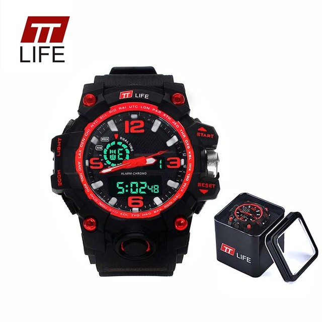 TTLIFE Branded Mens Watches Sports Military Electronic LED Display Analog Waterproof Quartz Digital Wrist Watch Luxury With Box