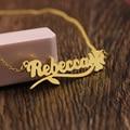 Nome Personalizado Colar Da Placa de Identificação Personalizada Pingente Colares de ouro Com Trevo de quatro folhas Presente de Natal do Amor