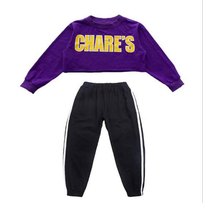 BAZZERY Children hiphop Clothes Jazz Dance Costumes Purple Shirts & Black Trousers Kids Student Street Dance Wear