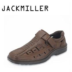 Jackmiller Summer Men Sandals Shoes Breathable Slip On Light Soft Sandals Men Shoe Summer Comfortable Handmade shoe Color Brown