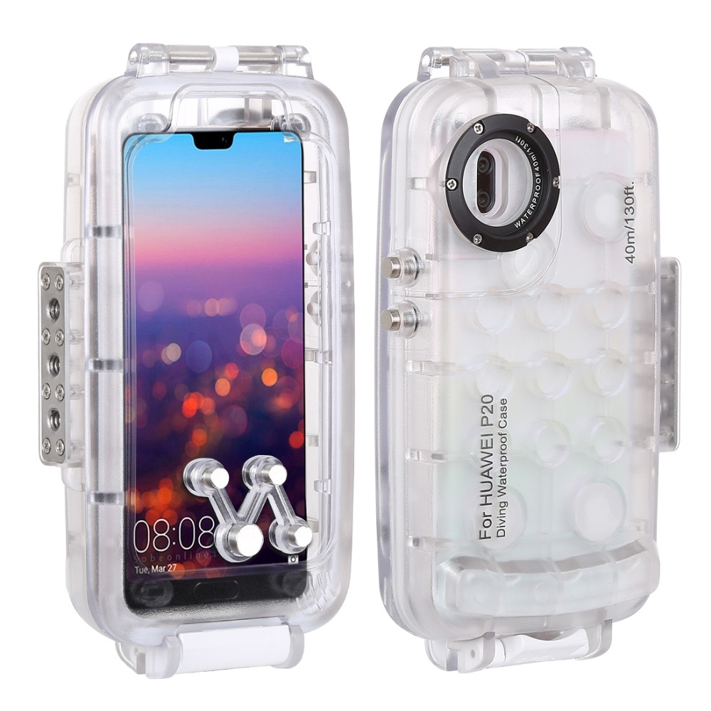Haweel for huawei p20 40m/130ft Professional Waterproof Diving Housing Photo Video Taking Underwater Cover Case For Huawei P20 - 2