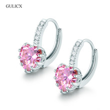 GULICX New Luxury Heart Love Pierced Earing for Women White Gold color Hoop Earing CZ Zirconia