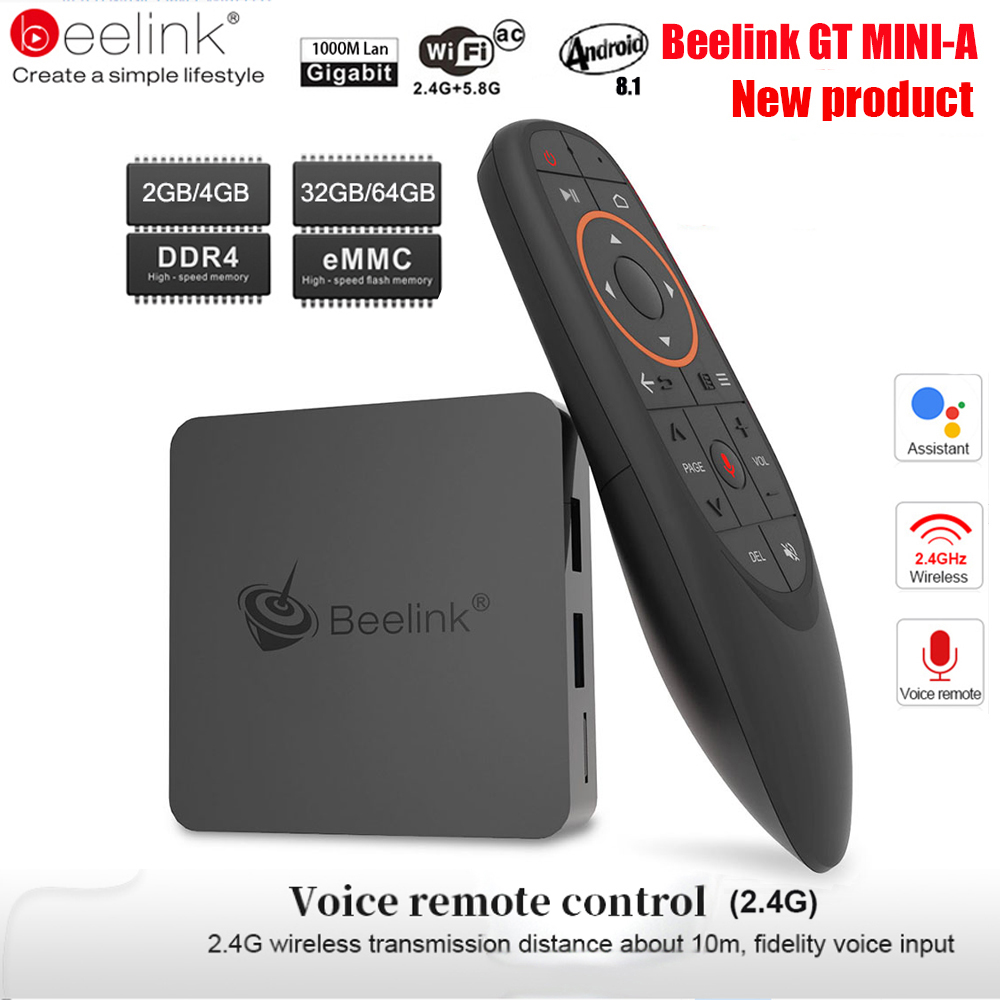 Beelink GT1 Mini TV Box Android 8.1 commande vocale Amlogic S905X2 TV Box 4 GB DDR4 32 GB 64G BT4.0 double Wifi HDMI2.0 4 K décodeur