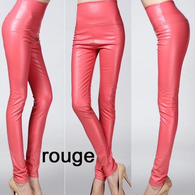 2019 Autumn winter Women legging skinny PU leather pencil Leggings slim faux Leather Pants female fashion thick fleece trousers 15