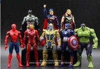 Disney Marvel Avengers 8 pcs/set Thor Hulk Iron Man Action Figure Anime Mini Decoration PVC Collection Figurine Toy model gift