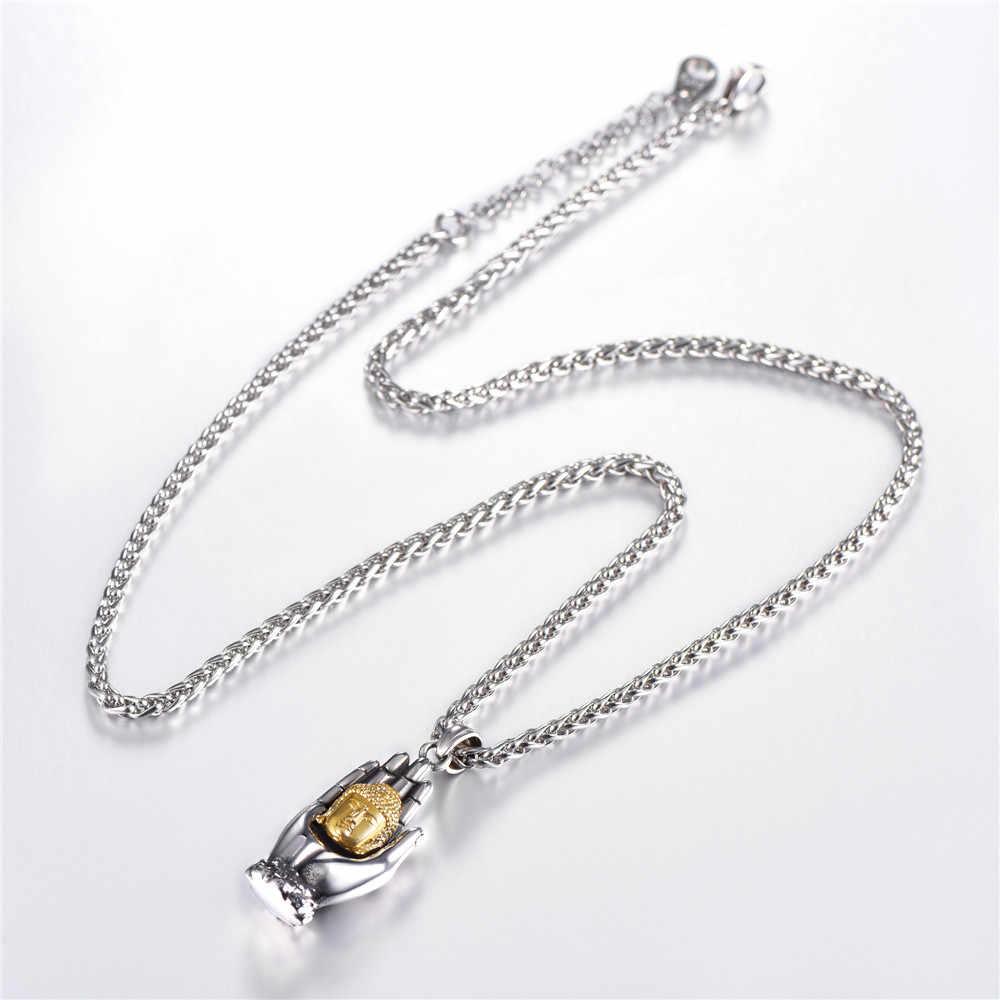 Phật giáo Guanyin Vòng Cổ Kwan Yin Palm Vàng Không Gỉ Màu May Mắn Phước Lành Amulet Phật Giáo Vòng Cổ Cho Nam Giới/Phụ Nữ GP3231