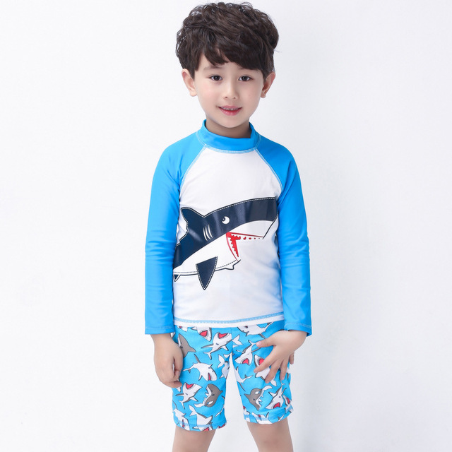 512f93afbb Boy Swimsuits Hot Sale Baby Swimwear Shark Cartoon Print Swimwear baby Kids  Summer Swimming Suit Top+ Shorts Beachwear