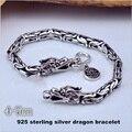 4-7 мм голова дракона Браслет Стерлингового Серебра 925 для Мужчин Старинные Тайские серебряные браслеты свадебные cool Мужчины ювелирные изделия Fine Jewelry HYB3