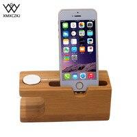 XMXCZKJ Dock di ricarica in legno per supporto per telefono cellulare supporto per caricabatterie in bambù Base per Apple Watch e per iphone