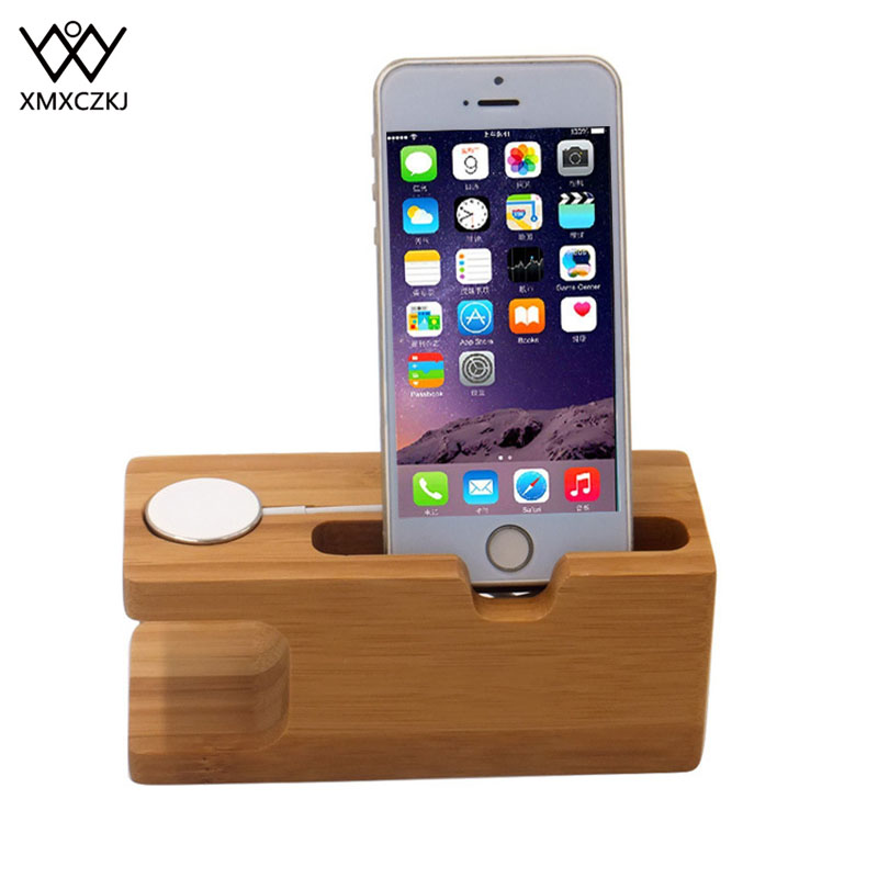 XMXCZKJ Wooden Charging Dock Station For Mobile Phone Holder Stand Bamboo Charger Stand Base For Apple Watch And For Iphone