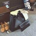 O novo 2017 bolsa feminina litchi grain lash saco balde PU cor sólida bolsa de ombro único bolsa grande
