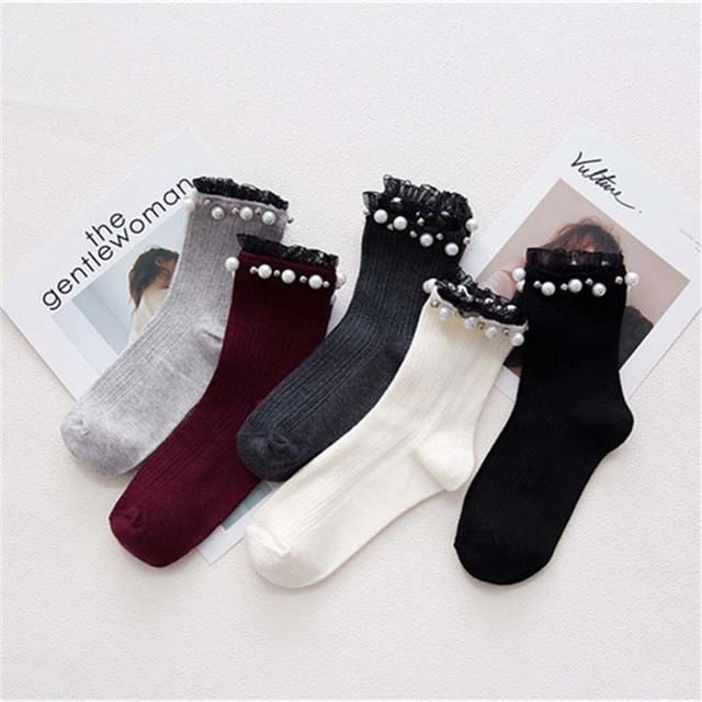 Women's Faux Pearls Decorated Socks