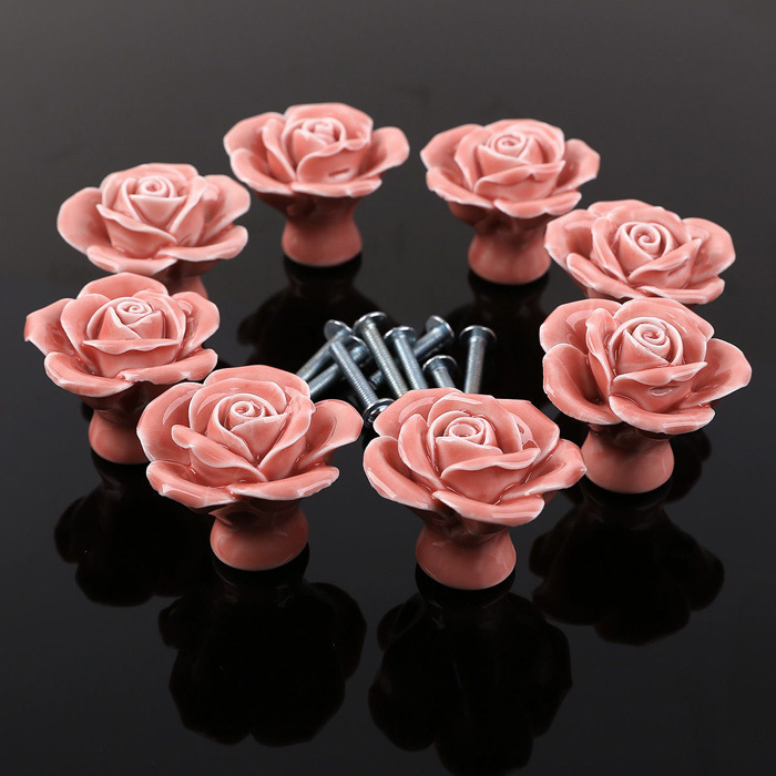 10PCS Pink Flower Ceramic Cabinet Hardware For Chest Of Drawers Door ...