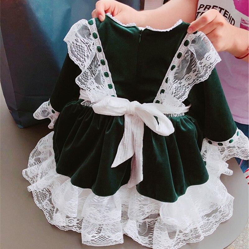 Mode filles de noël robes arc dentelle bébé fille princesse fête Tutu enfants robe de mariée bébé vêtements vert noël espagne Vestidos - 5