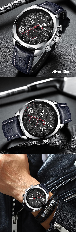 pulseira de couro cronógrafo relógios do esporte