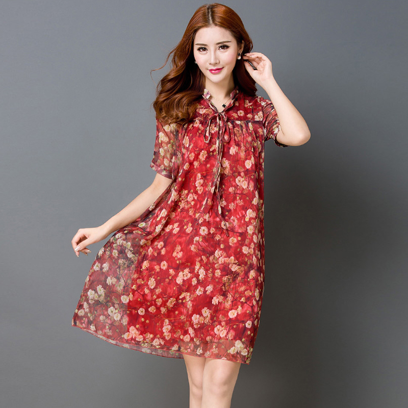 4becd1fc9b5 2018 новые летние женские Модные платье Цветочный печати шифон район линии  платье v-образным вырезом женский короткий рукав плюс Размеры плат.