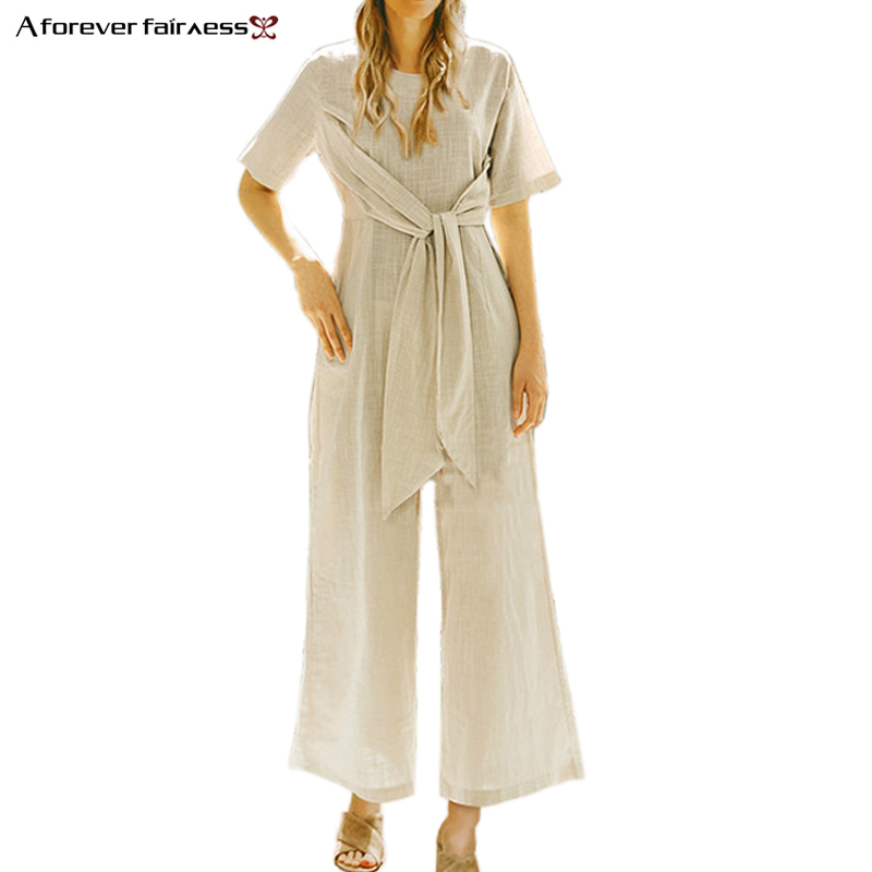 A Forever Fairness Summer Women Jumpsuits O-Neck Short Sleeve High Waist Belt Loose Long Rompers Cotton Linen Casual Loose Pant