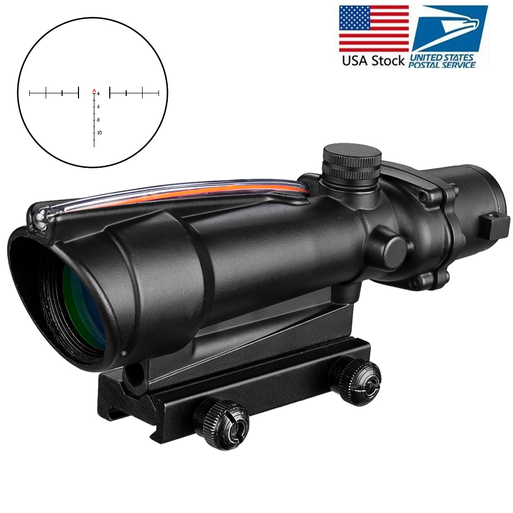 ACOG 5x35 Hunting Riflescope Dual Illuminated Chevron Red Green Cross Fiber Scope Reticles Tactical Rifle Optical