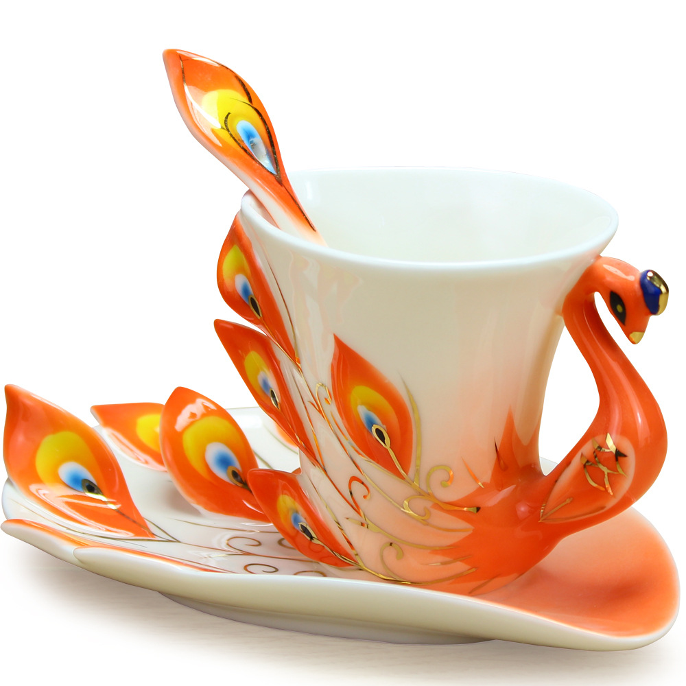 Hot Sale Coffee Mug Peacock Ceramic Creative Cup Bone