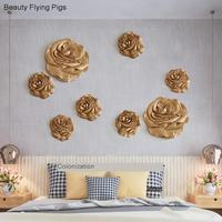 3D Resin Rose Wall sticker Painting Craftsmanship For Wall Living Room Bedroom Tv Background Wall Decoration For Home Decoration