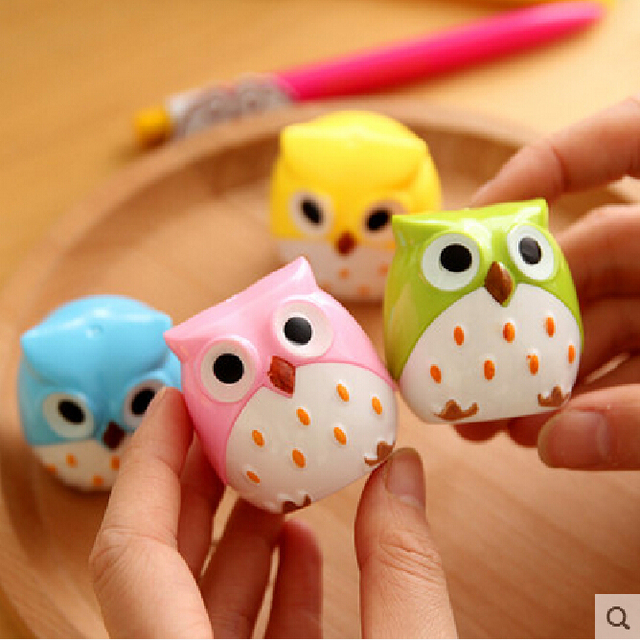 New Cute Kawaii Lovely Plastic Owl Pencil Sharpener Creative Stationery Gifts For Kids Korean Free