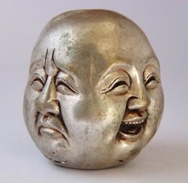 Old Chinese Old Vintage China's Old White Silver 5CM Lucky Four Face Buddha Statues Carved Head Tibetan Silver Bronze Decoration