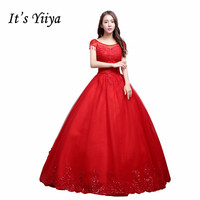 Free Shipping 2017 Plus Size O Neck Red White Beading Bling Lace Wedding Dresses Tulle Bride