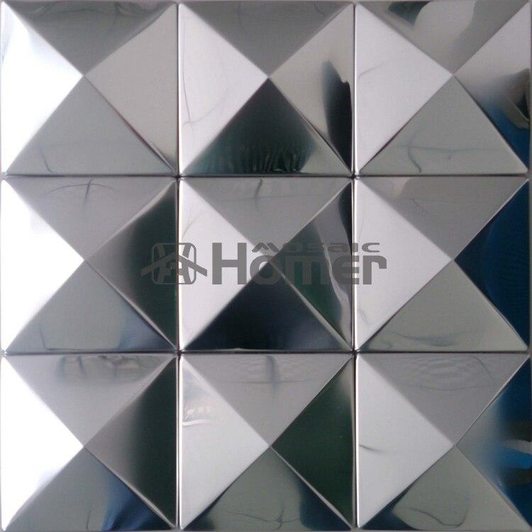 doprava zdarma, velká pyramida 100x100mm stříbrná nerezová kovová mozaiková dlaždice 3D konvexní kovová mozaika na zeď