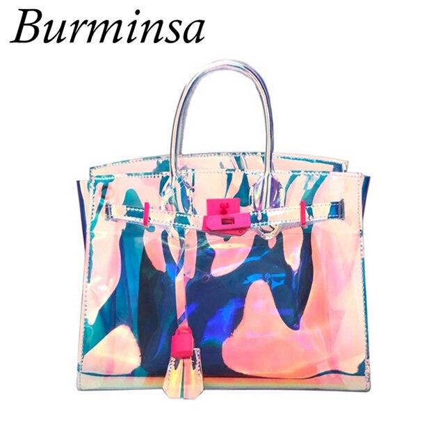 Burminsa Holographic Women Handbags Transparent Beach Bags Female Clear Jelly Purse Harajuku Shoulder Summer 2018