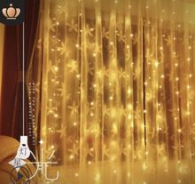 b38a1120a84 LED lámpara de color 3 3 m cascada lámpara boda decorativa estrella cortina  de