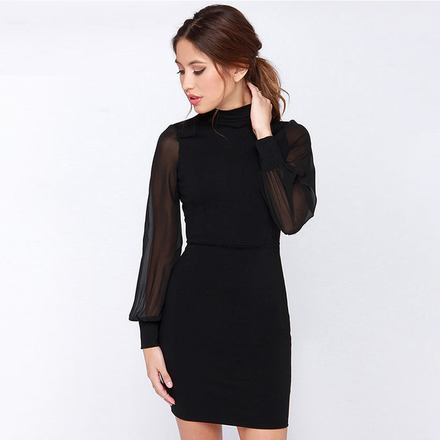 e96f7ea59ee5 Europe New Sexy Backless Mini Dress Women Spring Summer White Black  Patchwork Long Sleeve Pencil Party Hollow Bodycon Dresses
