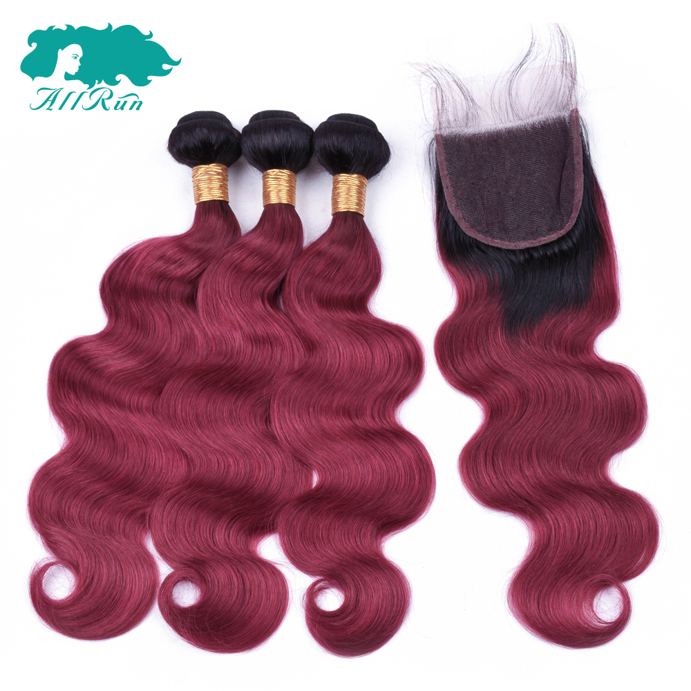 ALLRUN Human Hair Indian Bundles with Closure Body Wave Ombre 1B/wine red 3Bundles With 4*4 lace Closure Non-Remy Hair Extension