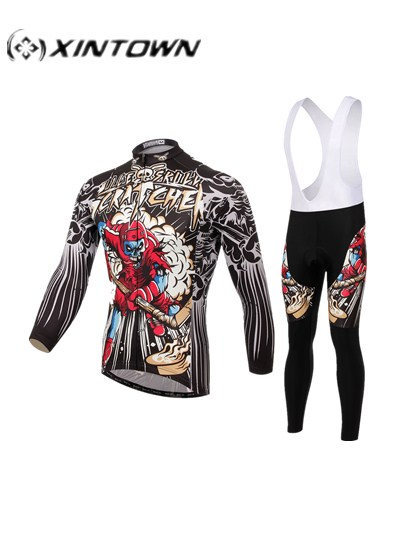 Popular XINTOWN Bike Long jersey sets Red Skull MTB Team Cycling clothing Riding ropa ciclismo hombre Maillot Long Sleeve suits