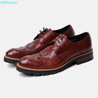 QYFCIOUFU/Роскошные Дизайнерские итальянские Мужские модельные туфли; оксфорды из натуральной кожи с крокодиловым узором; цвет черный, винный,