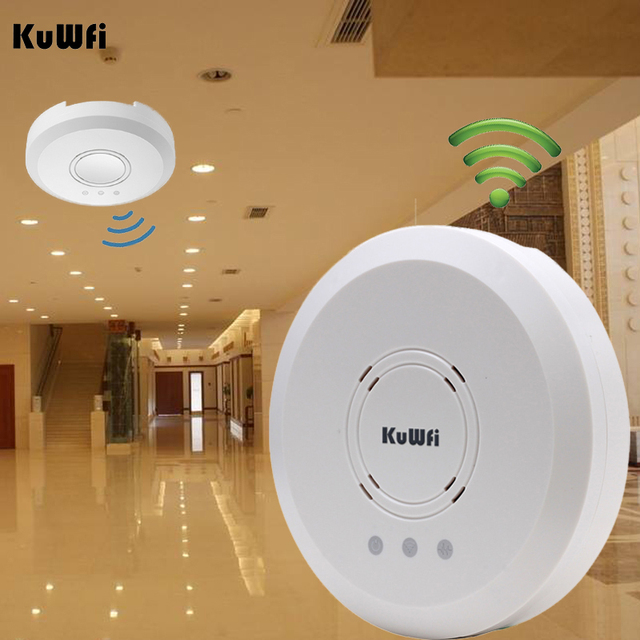 Kuwfi 300Mbps Indoor Ceiling Mount Wireless Access Point Controller System Wireless Router Long Coverage For Hotel/School