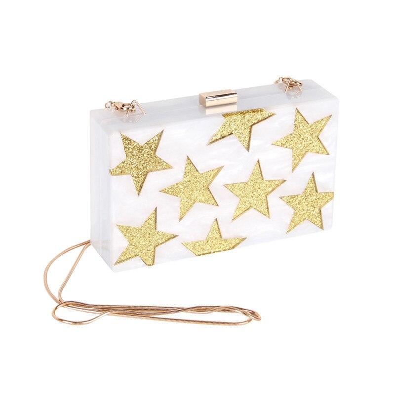 Звезды узор белый акрил Для женщин Вечерний Клатч цепь плечо сумки Crossbody Hardcase Клатчи Свадебная вечеринка выпускного вечера кошелек