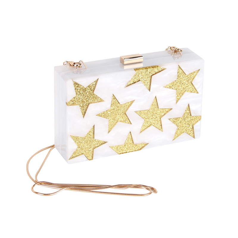 Stars Pattern White Acrylic Women Evening Clutch Bag Chain Shoulder Handbag Crossbody Hardcase Clutches Wedding Party Prom Purse