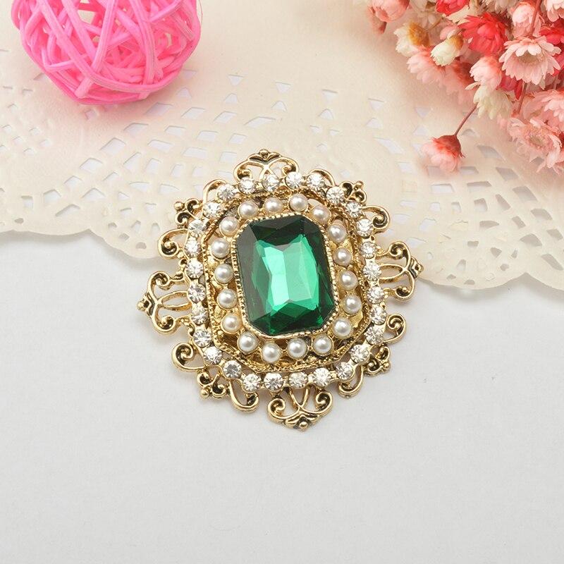 Vintage Bohemian Green Crystal Round Brooch Pin Kvinne Retro Badge - Mote smykker - Bilde 2