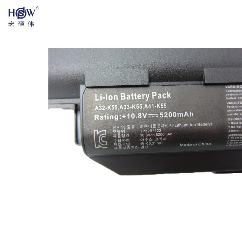 HSW 5200MAH laptopbatteri för asus A32 K55 A33-K55 A41-K55 A45 A55 - Laptop-tillbehör - Foto 3