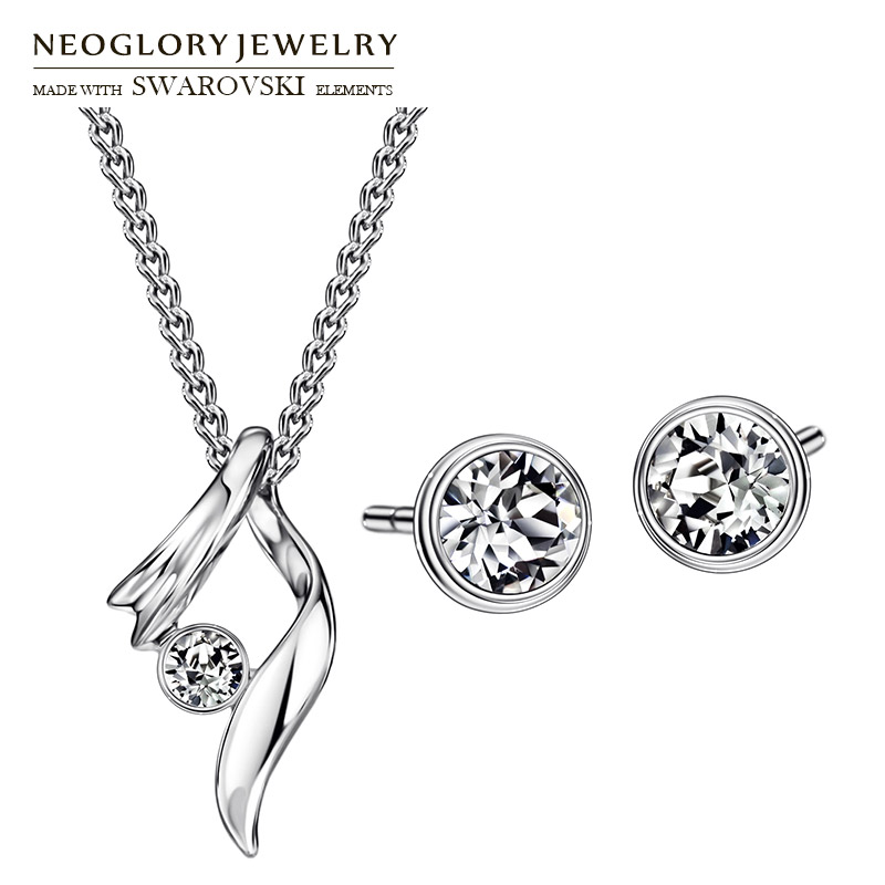 Neoglory Earrings Necklaces Jewelry-Set Rhinestone Austria Geometric for Lady Alloy-Plated