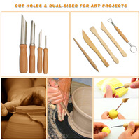 45 pcs DIY Art Clay Pottery Tools set Crafts Clay Sculpting Tool kit Pottery & Ceramics Wooden Handle Modeling Clay Tools