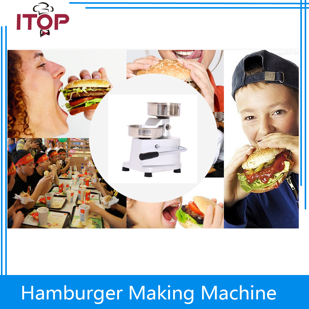 ITOP Commercial Hamburger Press  Meat Patty Making Machine Durable with 500 oil papers Hand Operating free ship new premium fast food equipment commercial package double grilled hamburger machine price
