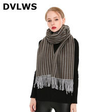2019 Autumn And Winter Scarf Korean-Style Vertical Striped Scarf Fringed Scarf Multi-Function Shawl Female Scarf outdoor soft checked pattern fringed scarf