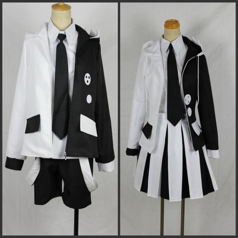 Anime Danganronpa V3: Killing Harmony Cosplay High Quality Monokuma Unisex Cosplay Costume coat+shirt+tie+skirt(or pants)+socks