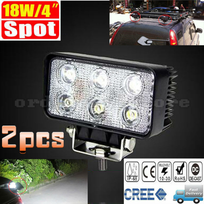 2pcs Waterproof Super Bright 18W 6 LED Car Auto Truck Offroad SUV 4WD ATV Boat Bar Work Spot Light Driving Fog Night Safety Lamp new 7inch 4d cree 60w round led work light 12v super bright 12x5w waterproof for suv jeep 4x4 offroad atv truck driving fog lamp