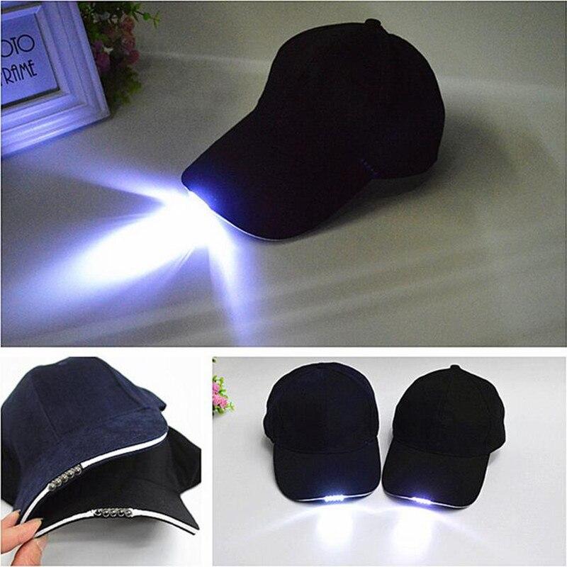 Prix pour Super Bright LED Cap lumière lueur dans l'obscurité pour lecture de pêche Jogging 5 pcs Light up LED Sport Baseball chapeaux