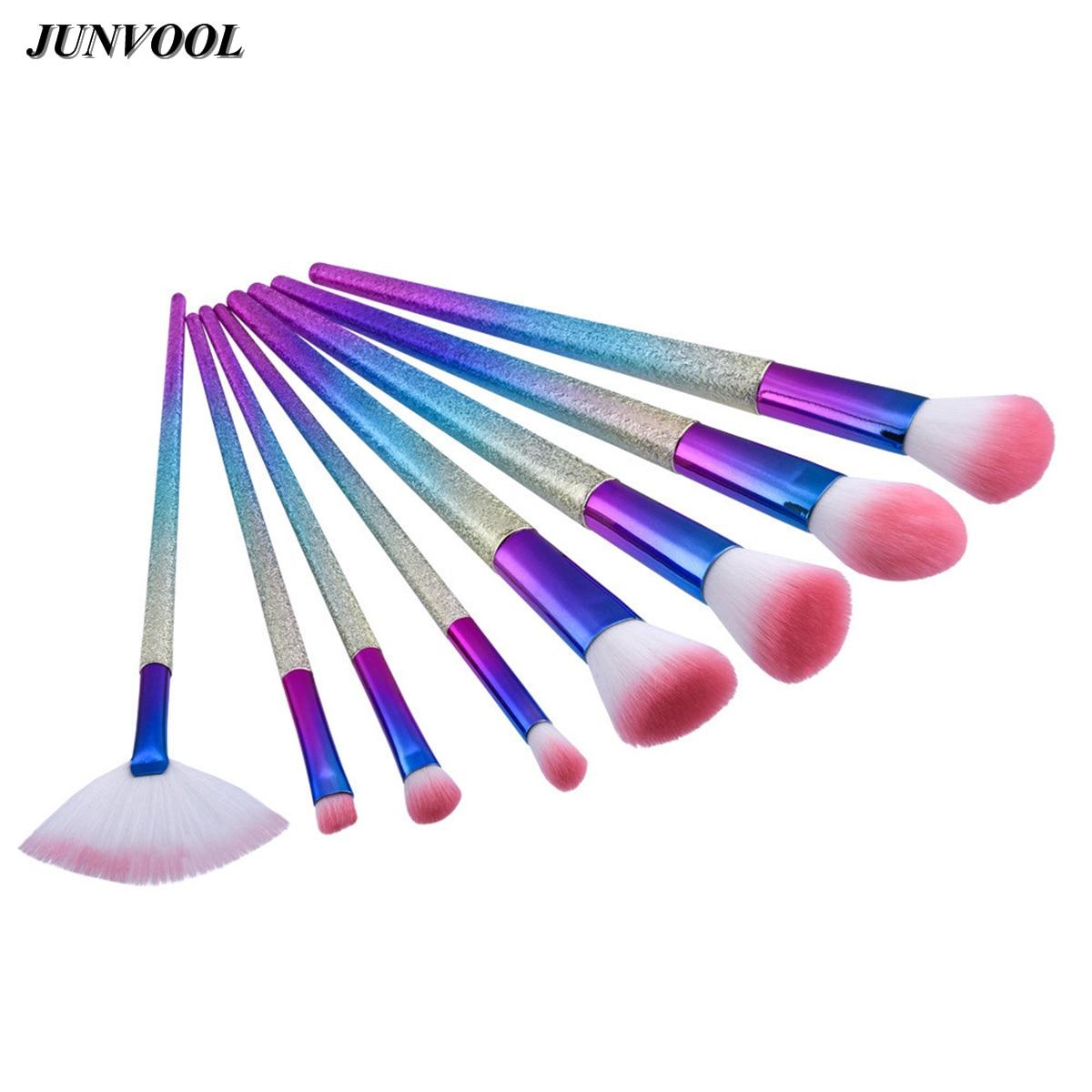 Fantasy Rainbow Makeup Brushes 8PCS Colorful Frosted Glitter Foundation Powder Eyeshadow Kit Gradient Color Makeup Fan Brush Set fan makeup brush set 9pcs rainbow diy