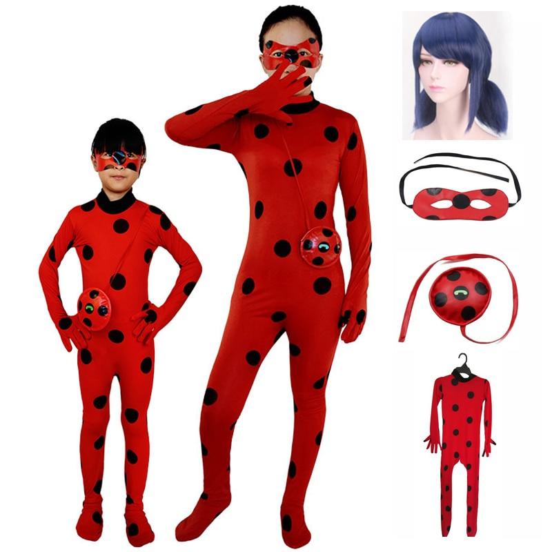 Lady Bug Cosplay Kostuums Jumpsuit Voor Kinderen En Volwassen Tikki Lieveheersbeestje Kostuum Meisjes Vrouwen Halloween Party Verjaardag Zachte Huid Strak