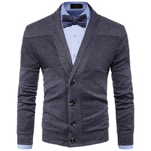 2017 new men's Lapel sweater stitching color