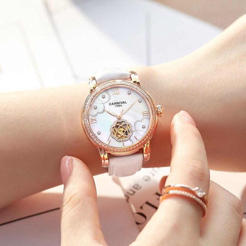 33mm marque de luxe carnaval squelette mécanique montre-bracelet automatique pour les femmes avec bracelet en cuir blanc relogio feminino